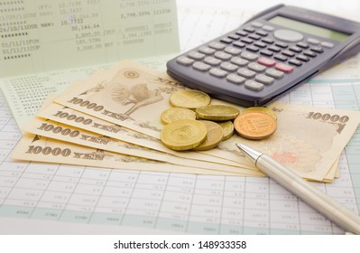 currency and banknotes of Japan, saving account and money concept