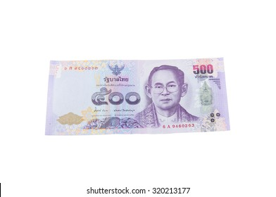 Currency banknotes used in the laws of Thailand.Isolated on white background