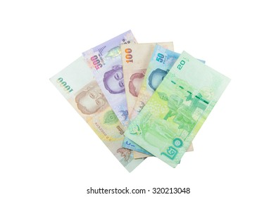 Currency Banknotes Used Laws Thailand Isolated On Stock