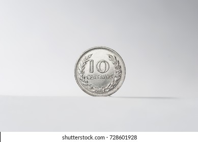 Currency Colombia ten cents 1975 on white background.