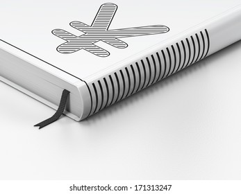 Currency concept: closed book with Black Yen icon on floor, white background, 3d render