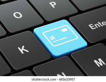 Currency concept: computer keyboard with Credit Card icon on enter button background, 3D rendering