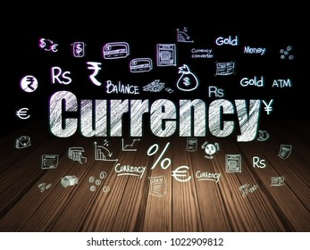 Currency concept: Glowing text Currency,  Hand Drawn Finance Icons in grunge dark room with Wooden Floor, black background