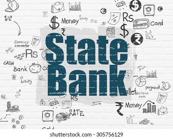 Currency concept: Painted blue text State Bank on White Brick wall background with Scheme Of Hand Drawn Finance Icons, 3d render