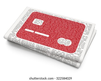 Currency concept: Pixelated red Credit Card icon on Newspaper background