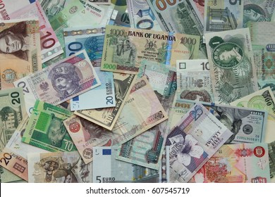 Currency of  different countries background (Dollar, Euro, Poland. Russia. Uganda, Swiss)
