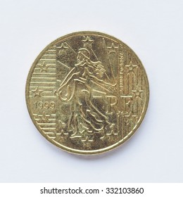 Currency of Europe 50 cent coin from France
