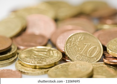currency euros. Focus on 10 cent piece.
