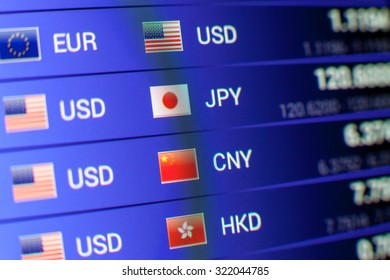 currency exchange concept. usd/jpy usd/cny usd/hkd rates