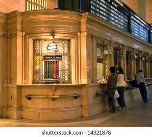 currency exchange counter at Grand Central Terminal in NYC
