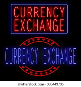 Currency exchange glowing neon sign on black background