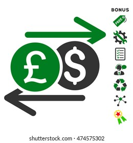 Currency Exchange icon with bonus pictograms. Glyph illustration style is flat iconic bicolor symbols, green and gray colors, white background, rounded angles.