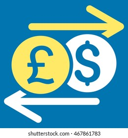 Currency Exchange icon. Glyph style is bicolor flat iconic symbol with rounded angles, yellow and white colors, blue background.