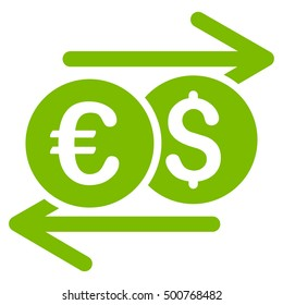 Currency Exchange icon. Glyph style is flat iconic symbol, eco green color, white background.