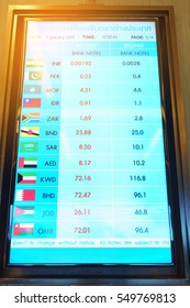 Currency exchange rate on digital LED display board ( Text saying Foreign exchange rate )