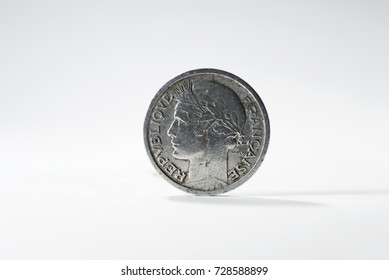 Currency France one franc 1946 on white background.
