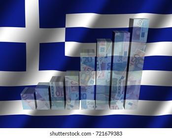 Currency graph on rippled Greek flag 3d illustration