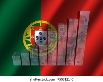 Currency graph on rippled Portuguese flag 3d illustration