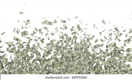 Currency Money Dollar Flying in air and making a pattern for text space