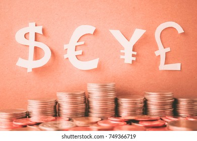 Currency paper model and row of coin for finance about currency concept