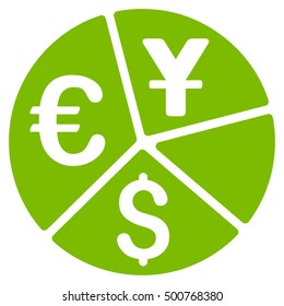 Currency Pie Chart icon. Glyph style is flat iconic symbol, eco green color, white background.