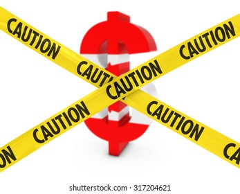 Currency Risk Concept - Dollar Symbol textured with the Canadian Flag behind Caution Tape