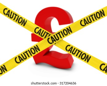 Currency Risk Concept - Red Pound Symbol behind Caution Tape
