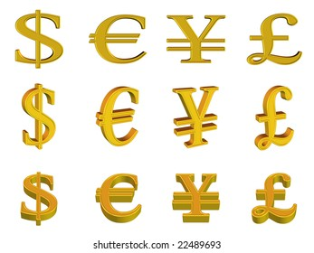 currency symbols gold - metal style