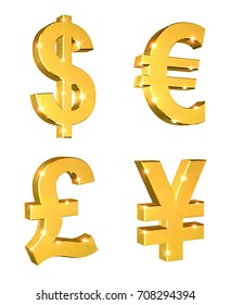 Currency Symbols Set on a white background with lens flare effect - 3d illustration