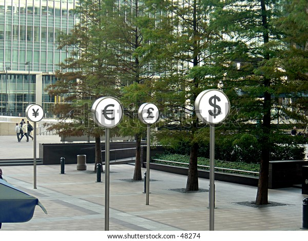 Currency Symbols shown in Canary Wharf