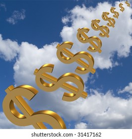 Currency symbols  in the sky