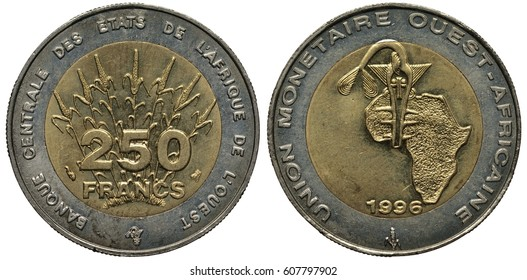 Currency Union of West African States bimetallic coin 250 two hundred and fifty francs 1996, corn behind value, ethnic mask in front of map of Africa,