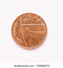 Currency of the United Kingdom 1 penny coin vintage