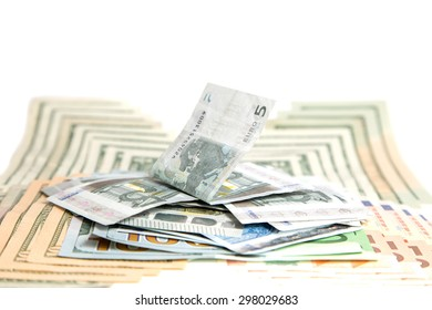 currency, white background ,dollars euros
