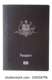 Current Australian passport cover isolated on white background