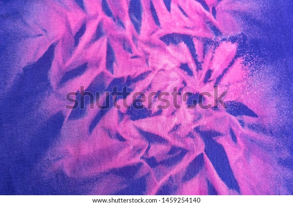 Current Fashion Trending Colorful Bleach Fabric Abstract Reverse Tie Dye  Design in Purple and Red.