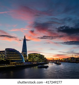 Current London skyline with modern architecture during dusk