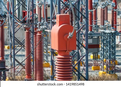Current transformer or CT in an electric power substation, instrument gear