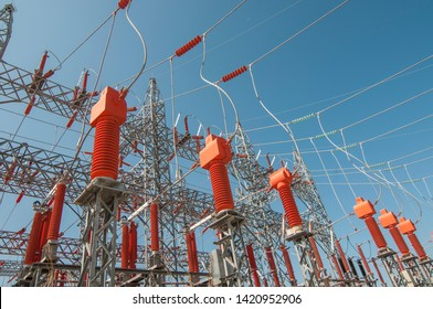 Current transformers, potential transformers in electric power substatation.