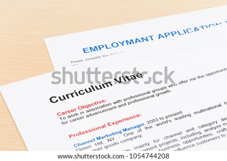 Curriculum Vitae Employment Application Form Stock Photo Edit Now