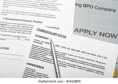 Curriculum vitae with fiction data employment contract.