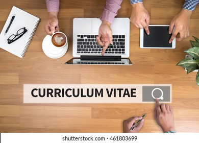 CURRICULUM VITAE professional resume for finding a job man touch bar search and Two Businessman working at office desk and using a digital touch screen tablet and use computer, top view
