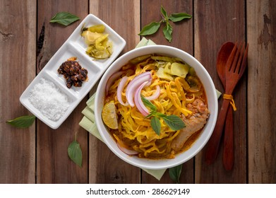 Curried Noodle Soup (Khao soi) with coconut milk, Northern Thai  cuisine.