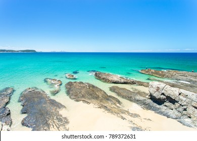Currumbin Beach on the Gold Coast in Queensland in Australia on a clear day