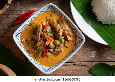 Curry with Beef Recipe (Panang Neua). Thai food Beef peanut-coconut cream curry.