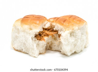 Curry bread on white background.