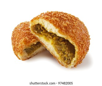 Curry bread was placed on a white background