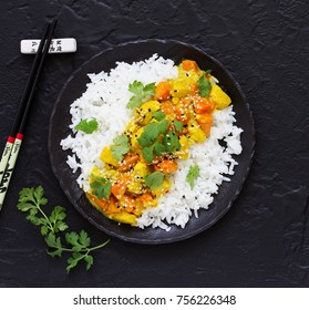 Curry with chicken and pumpkin.