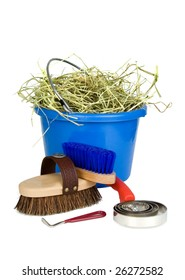 Curry comb, brush, hoof pick and soft brush beside a blue bucket full of hay.