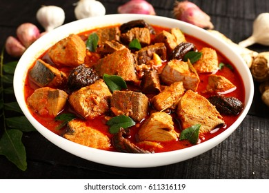 Curry dish made of fresh Tuna fish Asian cuisine.